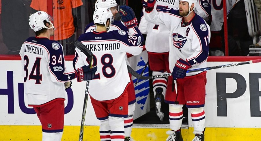 The Blue Jackets celebrate win No. 44 vs. Philadelphia