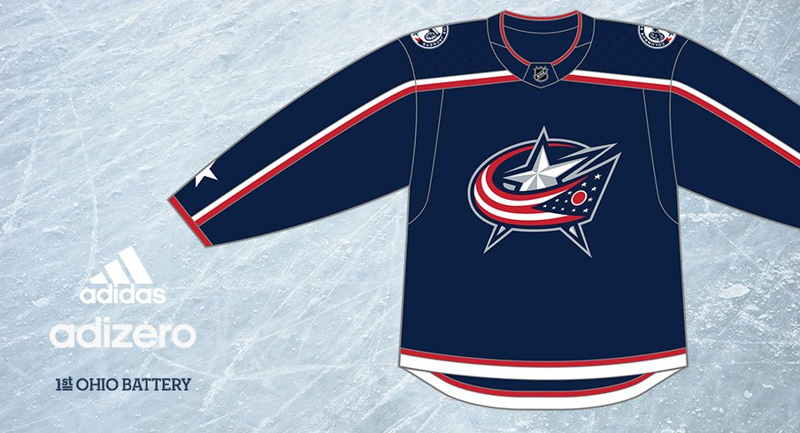 A mockup of the new Columbus Blue Jacket home jerseys from adidas.
