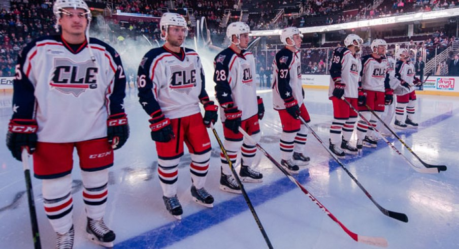 The Cleveland Monsters get ready during pre-game warm ups.