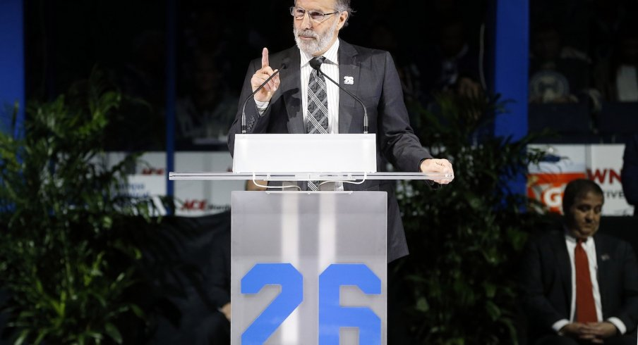 John Tortorella speaks as Martin St. Louis is being honored.