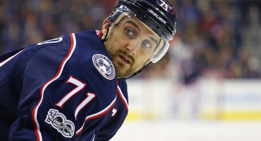 Nick Foligno looks back to the bench for suggestions