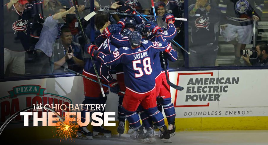 Columbus Blue Jackets celebrate goal by Sonny Milano