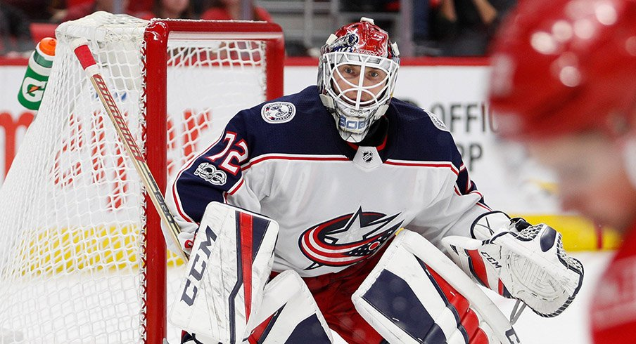 Sergei Bobrovsky stares down Dylan Larkin as he skates down the wing for Detroit.
