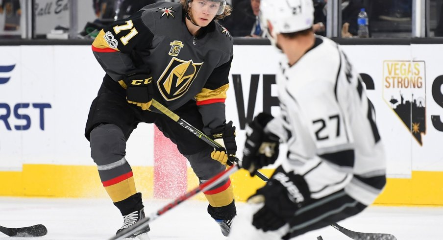 Golden Knights forward William Karlsson skates with the puck against the Kings