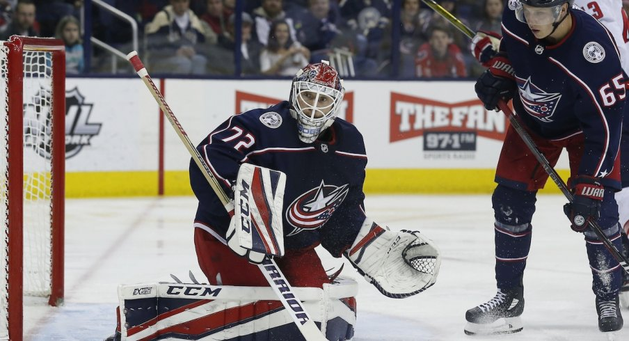 Sergei Bobrovsky pushes a puck towards the boards against the Washington  Capitals 5fefdc924