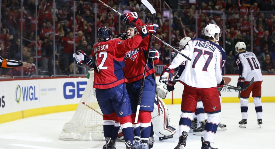 The Blue Jackets were dejected after allowing a goal against