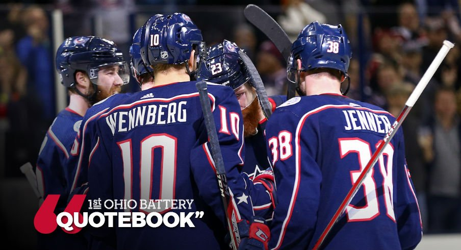 Blue Jackets celebrate a power play goal against Montreal