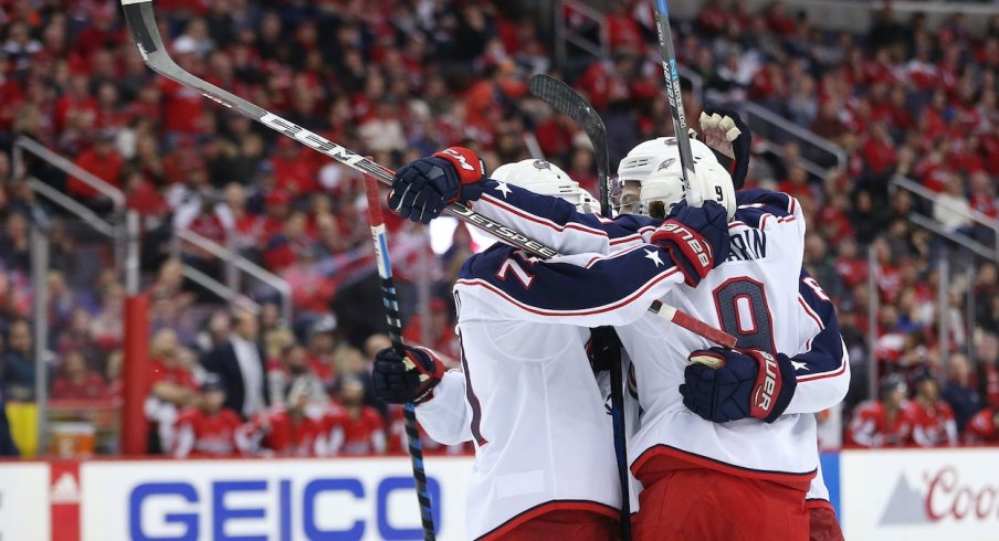 Artemi Panarin and company celebrate a goal against the Washington Capitals during Game 2
