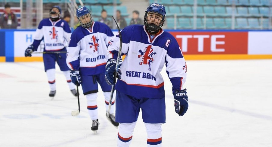 Liam Kirk of Team Great Britain celebrates scoring a goal at the World Junior D2 Tournament