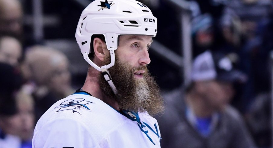 Center Joe Thornton waits for play to start during the 2017-18 season