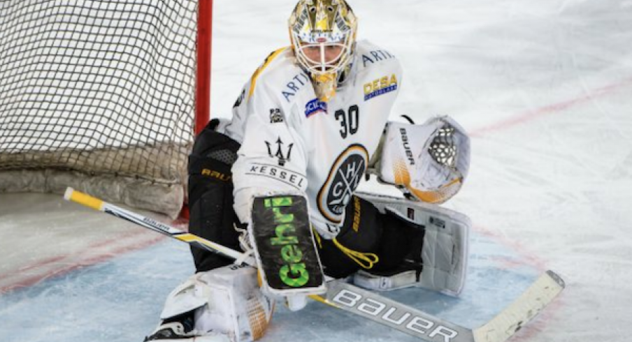 Columbus Blue Jackets prospect Elvis Merzlikins, in action for Swiss League side HC Lugano.