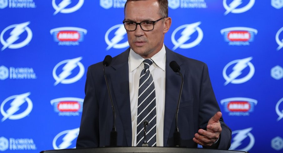 Steve Yzerman talks to assembled media during February 2018