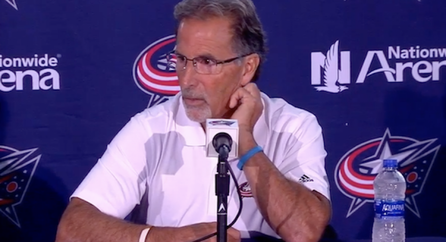 Blue Jackets head coach John Tortorella addresses the media at Media Day at Nationwide Arena in Columbus.