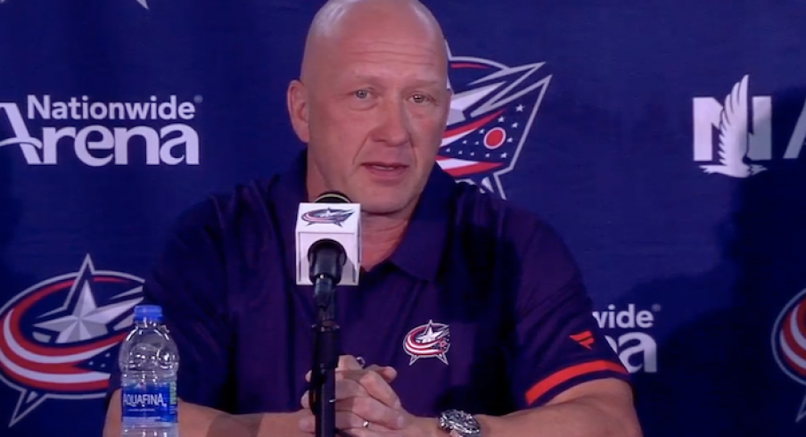Columbus Blue Jackets general manager Jarmo Kekalainen addresses the media at media day in Columbus, Ohio.
