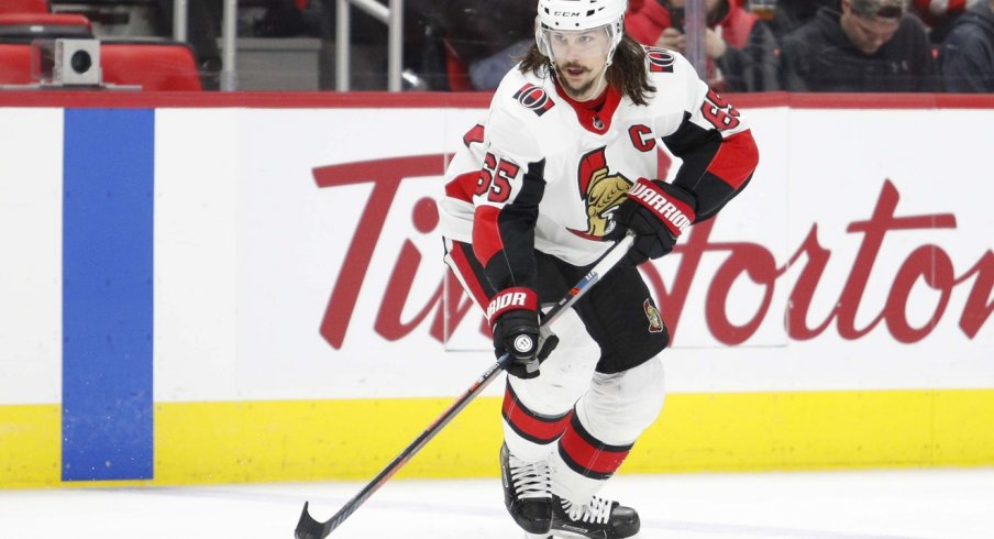 Erik Karlsson of the Ottawa Senators skates the puck up the ice