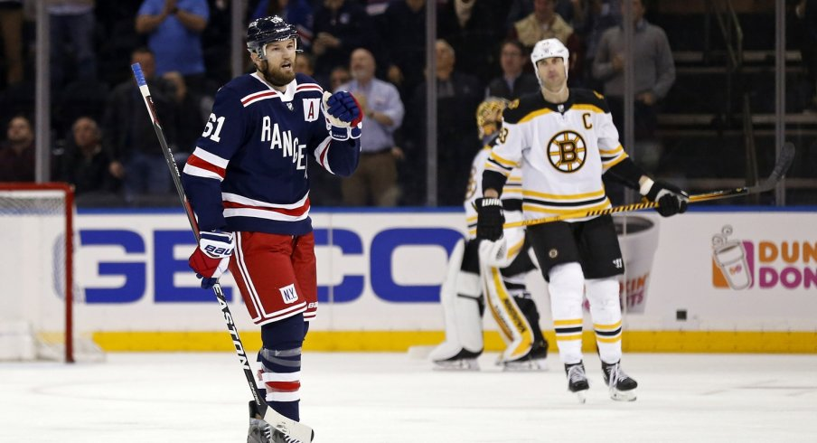 New York Ranger Rick Nash celebrates a goal against the Boston Bruins