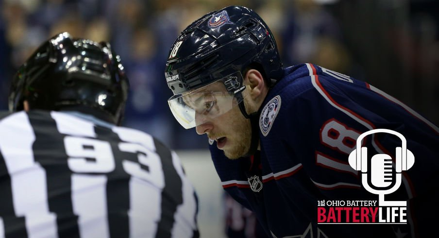 Columbus Blue Jackets center Pierre-Luc Dubois prepares for a face-off against the Washington Capitals at Nationwide Arena.