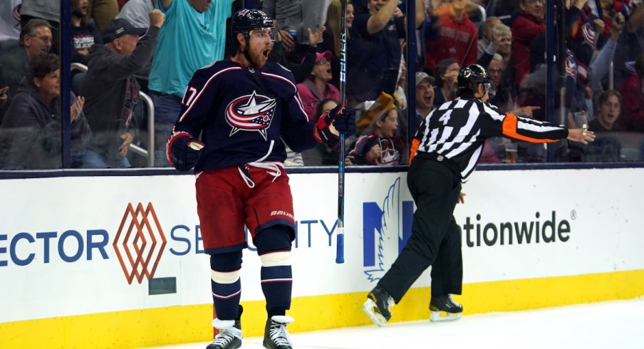 Columbus Blue Jackets center Brandon Dubinsky celebrates a goal scored against the Carolina Hurricanes on opening night at Nationwide Arena.