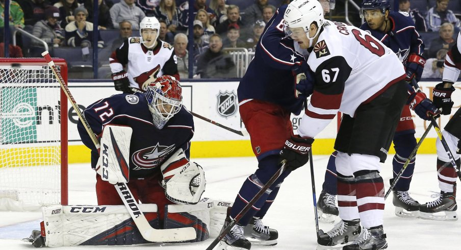 Sergei Bobrovsky makes a save against the Arizona Coyotes