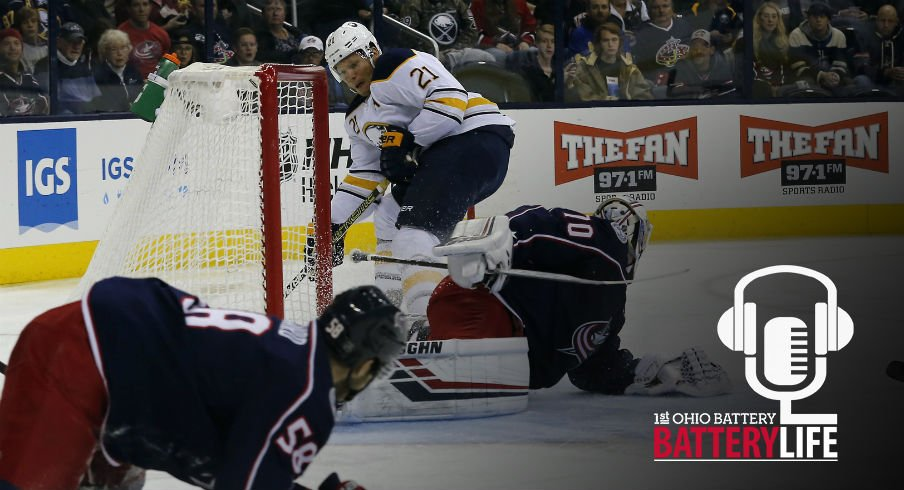 David Savard attempts to cut off a passing lane against the Buffalo Sabres