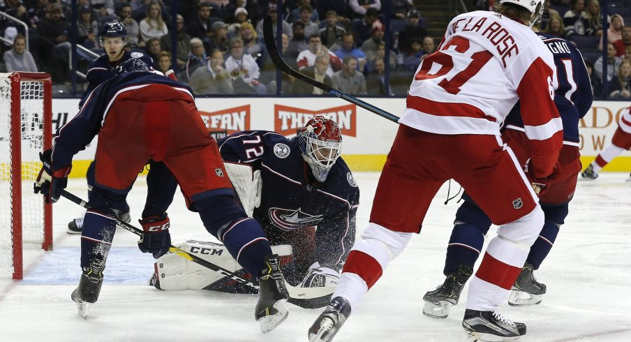 Sergei Bobrovsky's best game of the season was not enough as the Blue Jackets lost to the Detroit Red Wings