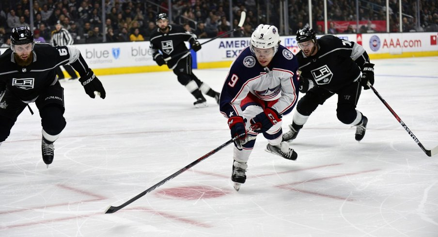 Artemi Panarin tracks down a puck as the Blue Jackets faced off against the Los Angeles Kings on March 1, 2018 at the Staples Center in Los Angeles.