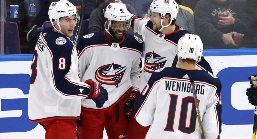 Anthony Duclair and Josh Anderson have twelve total goals on the season for the Columbus Blue Jackets so far.