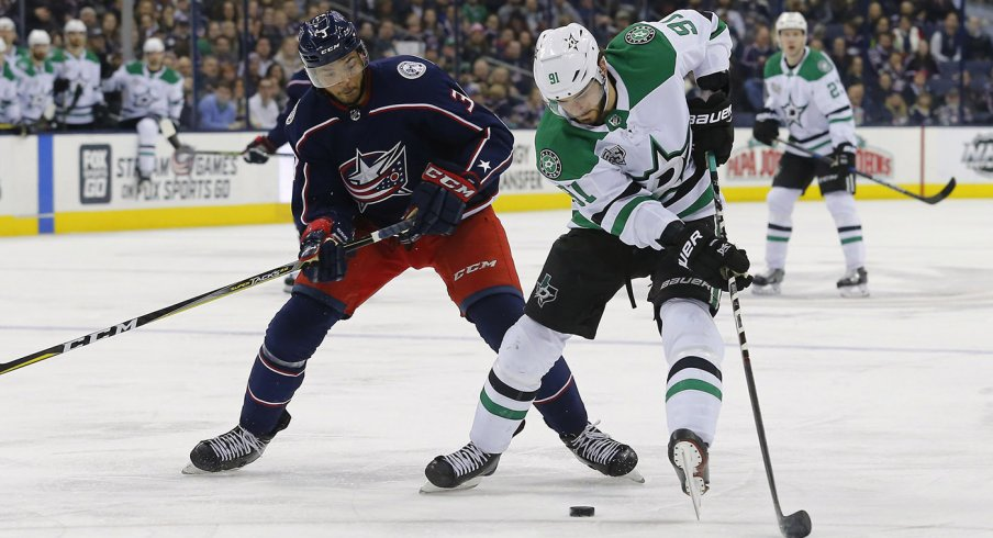 Seth Jones defends Tyler Seguin at Nationwide Arena