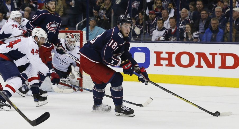 Pierre-Luc Dubois turns away from Brooks Orpik during the playoffs