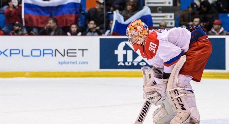 Daniil Tarasov prepares for Team QMJHL in Game 6 in the 2018 Canada-Russia Series