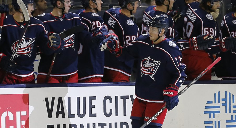 Columbus Blue Jackets forward Cam Atkinson celebrates a goal against the Pittsburgh Penguins at Nationwide Arena.