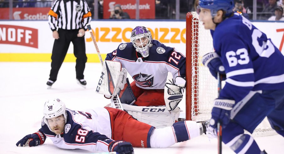 Sergei Bobrovsky was strong in tonight's loss to Toronto.