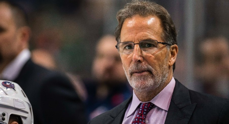 John Tortorella looks on as his Blue Jackets take on the Dallas Stars on November 12th in Dallas.