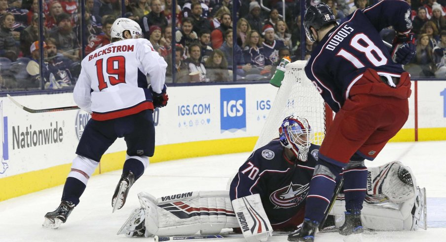 Joonas Korpisalo was put in net after a first period where Sergei Bobrovsky allowed three goals on 12 shots.