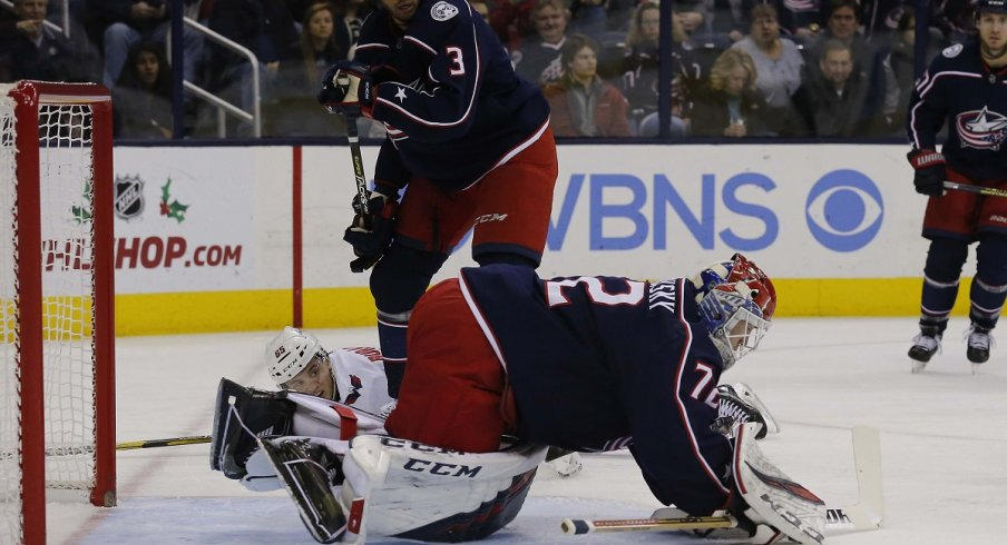 Sergei Bobrovsky makes a save against the Washington Capitals in an ugly loss at Nationwide Arena