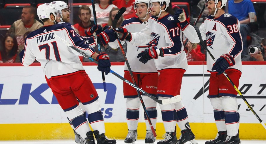 Josh Anderson celebrates with teammates after his goal against the Detroit Red Wings