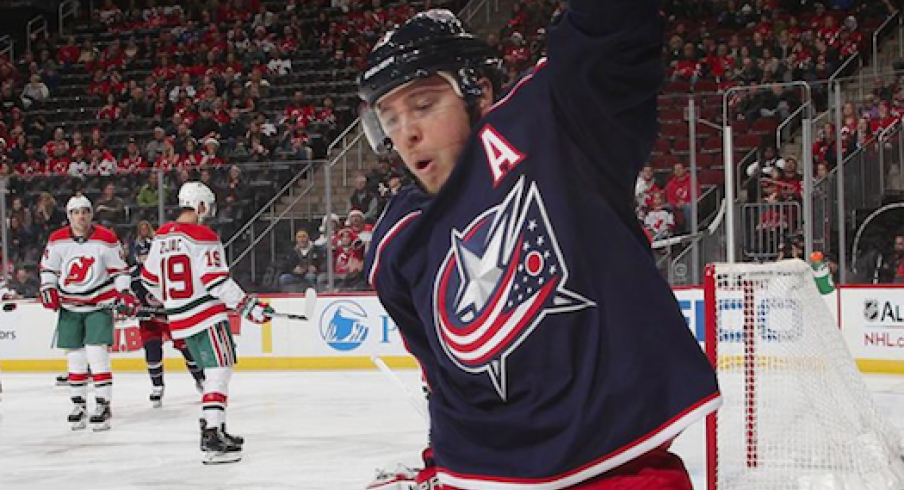 Cam Atkinson celebrates after scoring a goal in the first period against the New Jersey Devils.