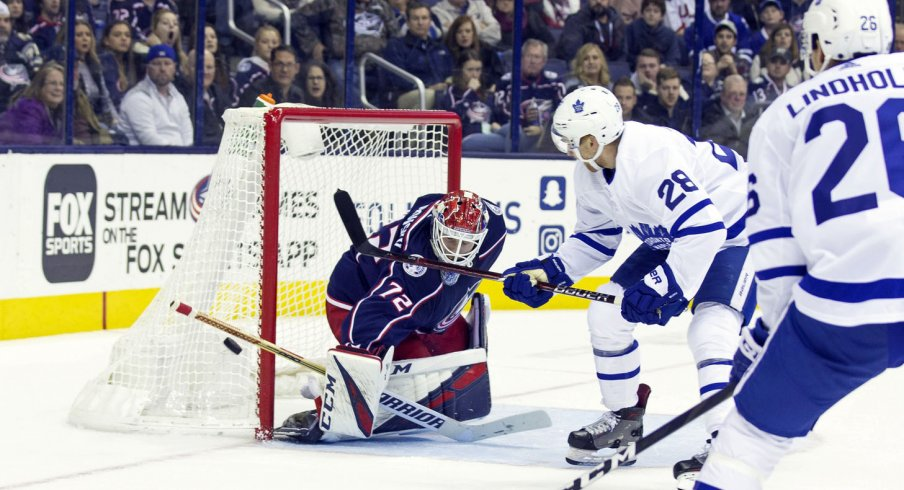 Sergei Bobrovsky faces a shot from the Toronto Maple Leafs.