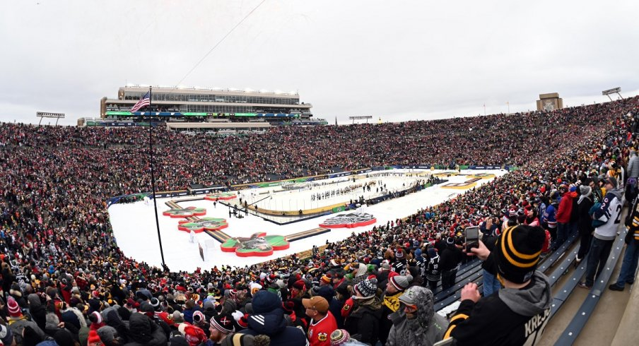 The Boston Bruins and Chicago Blackhawks face off in the NHL's 11th Winter Classic, hosted by Notre Dame.