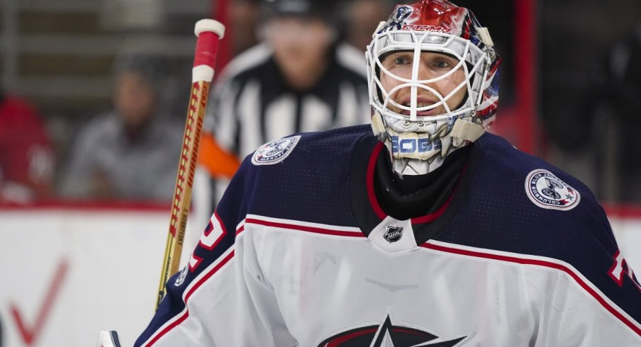 Sergei Bobrovsky looks on after giving up three goals in a 4-2 loss to the Carolina Hurricanes