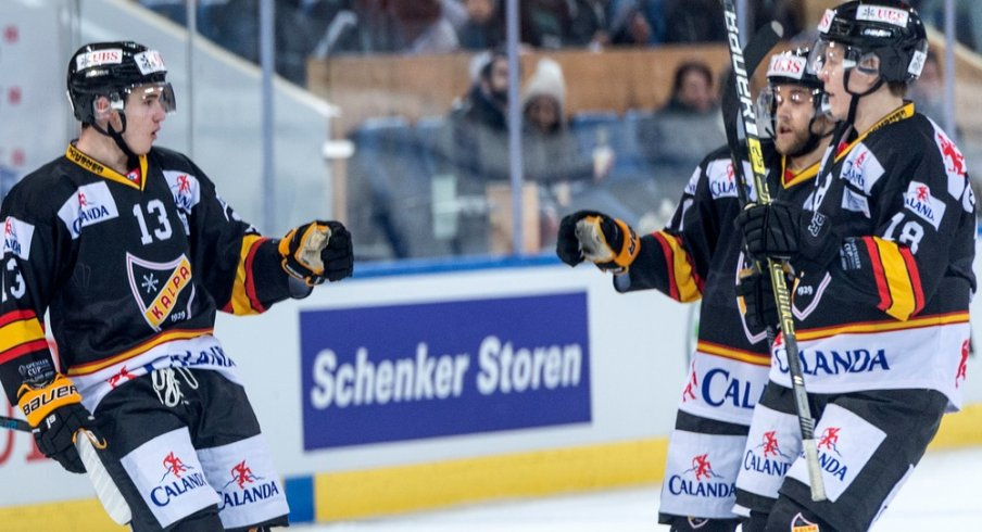 Alexandre Texier of KalPa Kuopio celebrates scoring a goal in the 2018 Spengler Cup