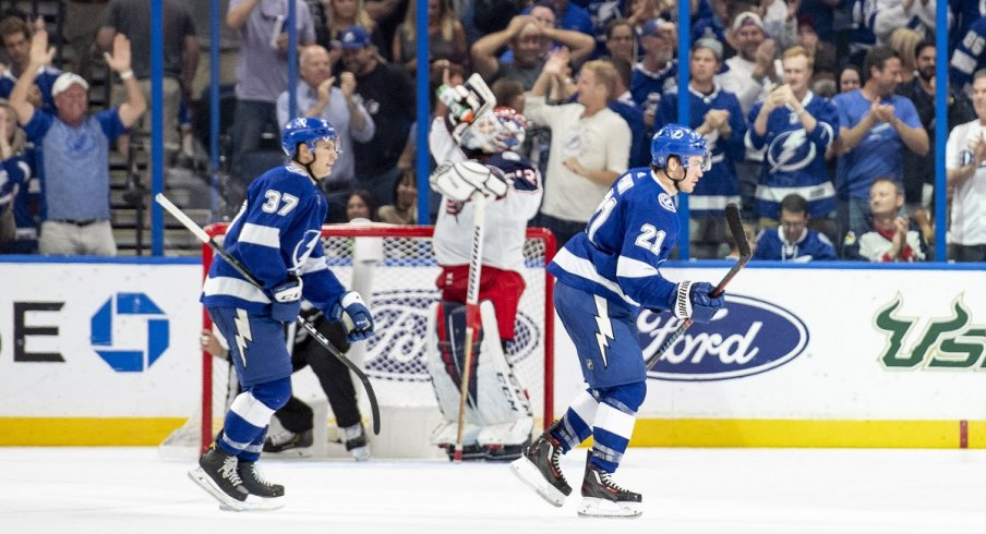 The Tampa Bay Lightning celebrate a goal in an 8-2 win over the Columbus Blue Jackets