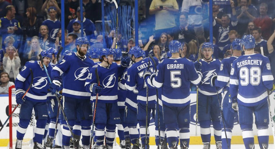The Tampa Bay Lightning celebrate a victory on home ice.