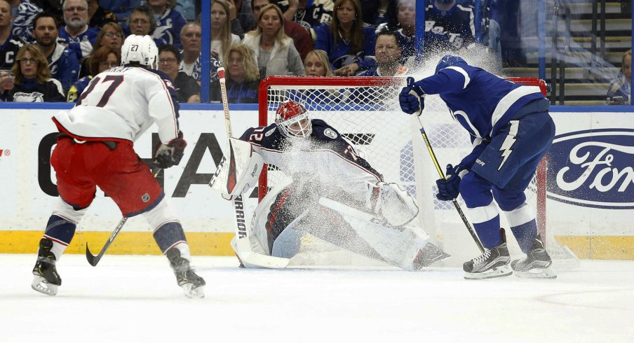Tampa Bay Lightning Star Steven Stamkos fires a shot against Sergei Bobrovsky and the Columbus Blue Jackets