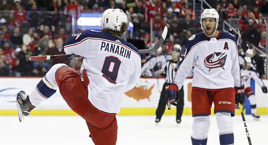 Artemi Panarin celebrates his fourth overtime game-winning goal of the season Saturday night against the Capitals.