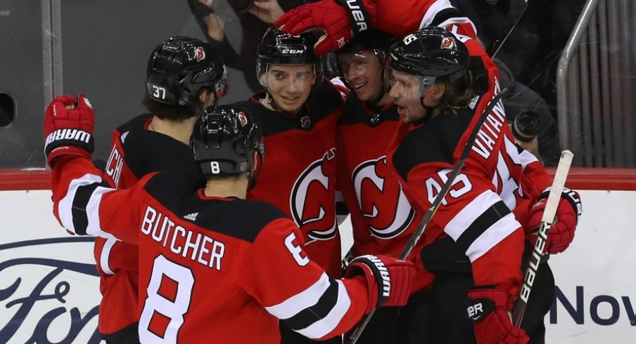 The New Jersey Devils celebrate a goal.