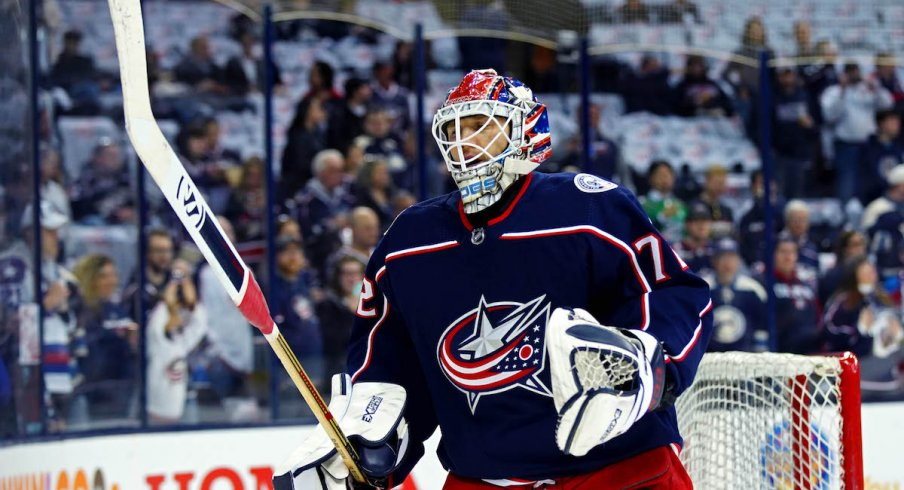 Columbus Blue Jackets goaltender Sergei Bobrovsky takes warm-ups at Nationwide Arena.