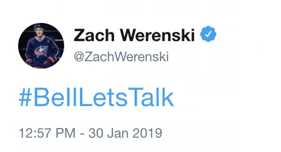 Zach Werenski tweets #BellLetsTalk