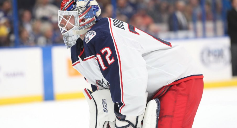 Columbus Blue Jackets goaltender Sergei Bobrovsky looks on during a game against the Tampa Bay Lightning.