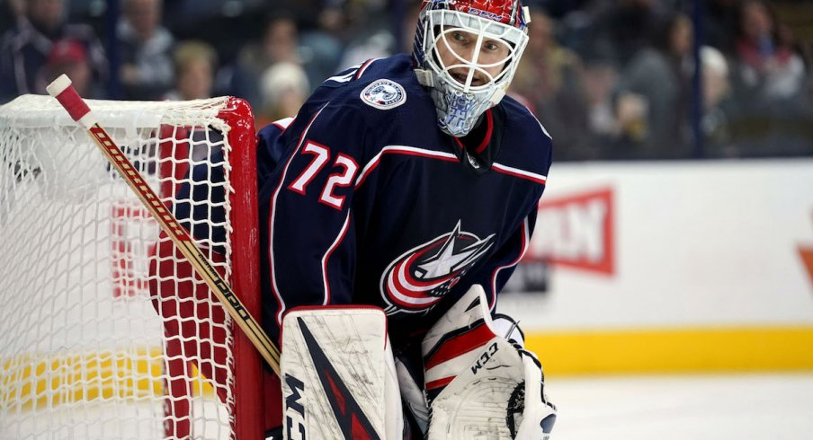 Columbus Blue Jackets goaltender Sergei Bobrovsky looks on during a game at Nationwide Arena.